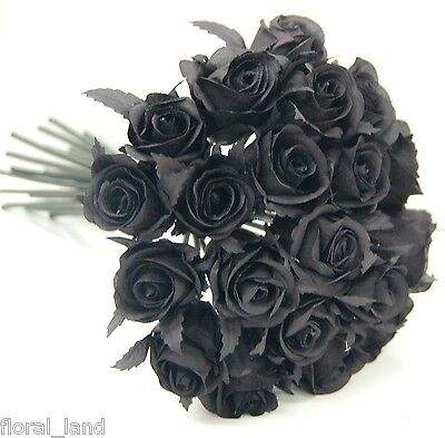 Black Gothic Rose Posy Wedding Bouquet Artificial Silk Flower Flowers Roses Bud