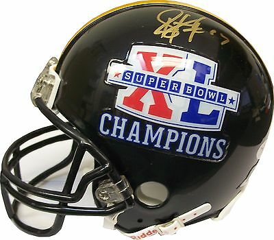 Troy Polamalu Autographed Steelers Super Bowl XL Black Mini Helmet w/ JSA COA