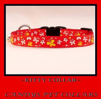 """* Handmade* Bright Red Butterfly Kitten Safety Collar 7"""" With Bell"""