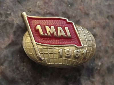 1961 Genuine Historic Czechoslovakia  May day Mayday Parade Antique Metal Badge