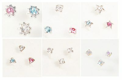 NOSE STUD NASAL PIERCING Set of 3 Sterling Silver Studs / 4 clear nose retainers