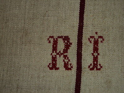Antique European Feed Sack GRAIN SACK RI Monogram#1978