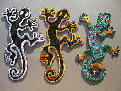 Gecko Lizard Iron On / Sew On Embroidered Cloth Patch Badge Appliqué hippy motif