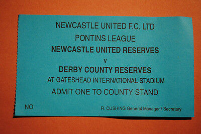 TICKET - RESERVES - Newcastle United v Derby - undated