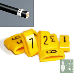 7mm Cable Plug Lead Numbers - Markers 1 to 8 - Yellow