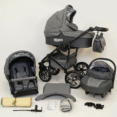 Baby Pram Pushchair Car seat - swivel wheels - 3in1 -  stroller Buggy - travel
