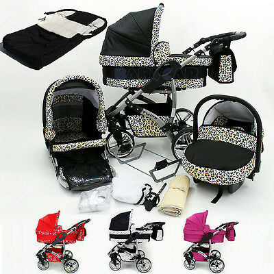Baby Travel System Pram Pushchair Car Seat 3in1 Swivel Wheels Stroller Footmuff
