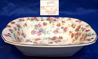 1-2 Dorset Cheery Chintz Erphila Germany Small Rectangular Vegetable Bowls
