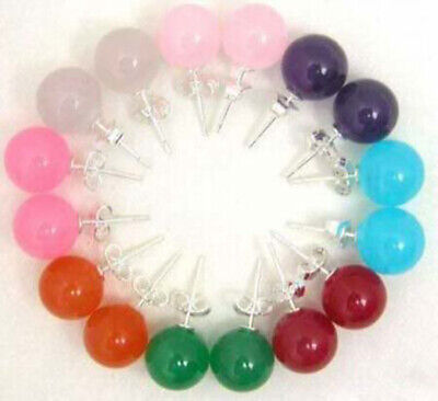 8sets 10mm Multicolor Jade Round Beads Earrings  AAA