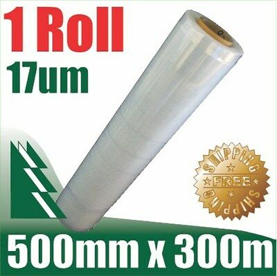 1 Roll 500mm x 300m 17um Clear Stretch Film Pallet Wrap Wrapping BEST PRICE
