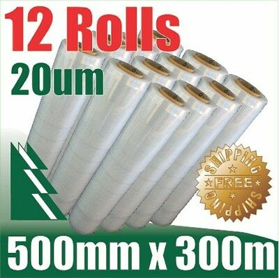 12 Rolls 500mm x 300m 20um Clear Stretch Film Pallet Wrap Wrapping BEST PRICE