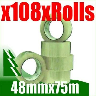 108 x Rolls Clear Packing Packaging Tape 48mm x 75m BULK BUY AND SAVE
