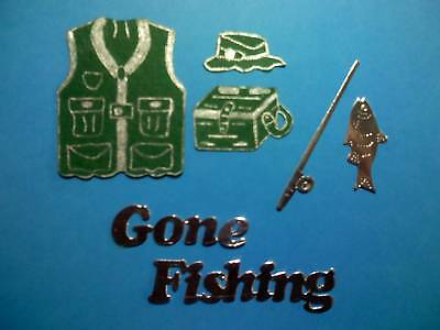 42pc set  Fishing theme die cuts  toppers/mens/sport