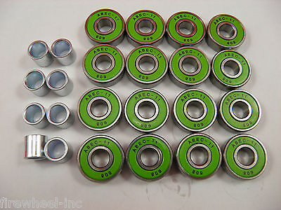 16 x ABEC 11 SCOOTER BEARINGS + 8 BEARING SPACERS *NEW* GREEN SHIELDS