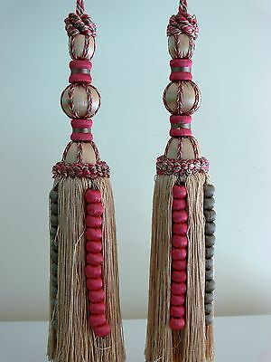 French X 2 Tassel Antique Large  Deep Red Gold Tie Back Decoration Superb !