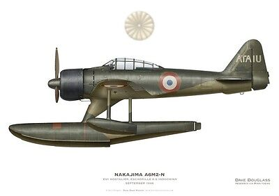 Print A6M2-N Rufe, Escadrille 8.S, Indochine, 1946 (by D. Douglass)