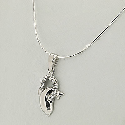 """925 Sterling Silver Fashion White CZ """"Dolphin"""" Pendant Snake Chain Necklace"""