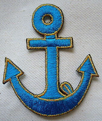 CUTE PRETTY LIGHT BLUE GOLDEN ANCHOR Embroidered Iron on Patch + Free Shipping