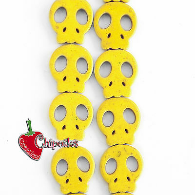 3 PERLE TESCHIO GIALLE charms CHARM yellow skull beads 21,5x19,5 mm