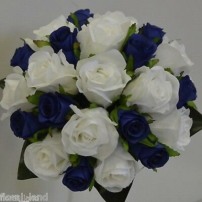 Blue & White Wedding Flower Bouquet Silk Rose Roses Flowers Posy