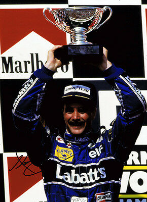 Nigel Mansell HAND SIGNED Genuine Autograph 16x12 Photo AFTAL Podium Celebration