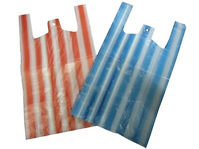 Cheap Candy Striped Pink/Blue Medium 10x15x18'' Vest Style Plastic Carrier Bags
