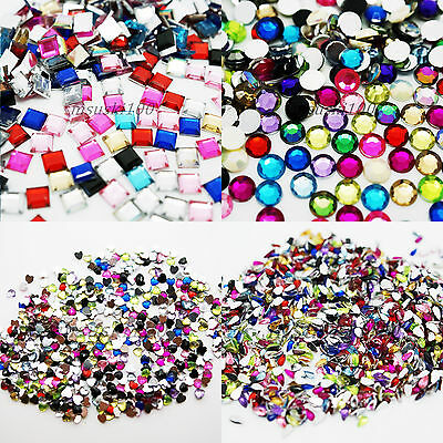 1000 Rhinestones Acrylic Gems TEAR DROP SQUARE HEARTS ROUND DIAMOND craft bead