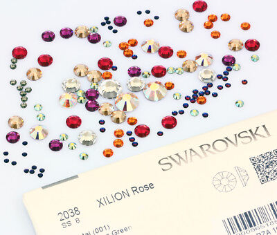 Genuine SWAROVSKI 2038 Flat Backs Foiled Hot Fix  * All Sizes & Colors * HotFix