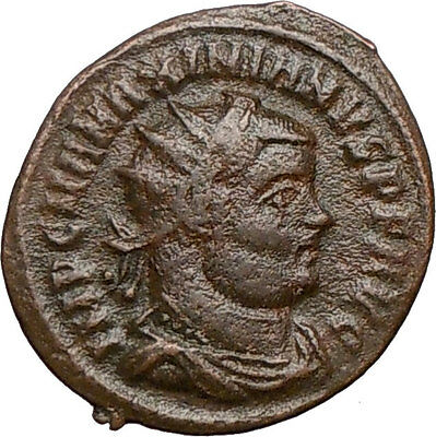 MAXIMIAN receiving Victory from  Jupiter Zeus 295AD Ancient Roman Coin i24647