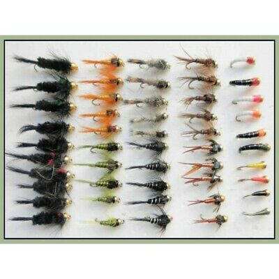Gold Head Nymph & Buzzer Trout Fishing Flies, 50 in Pack, Mixed Size 10/12