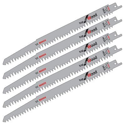 "5 Bosch S1531L 240Mm 10"" Hcs Reciprocating Sabre Saw Blades. Fast Cut For Wood."