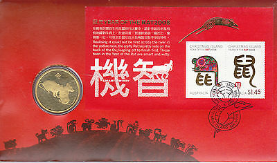 2008 Christmas Island Year Of The Rat  FDC/PNC With Limited Edition $1 Coin