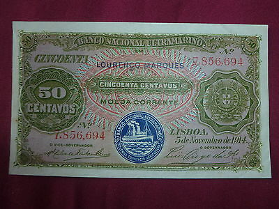 Mozambique Lot P-61 1914 50 Centavos VF++ Ultramarino Add Collection