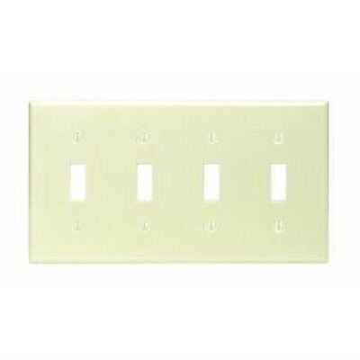 Leviton 86012 4-Gang 4-Toggle Wallplate Ivory Light Switch Cover Wall Plate