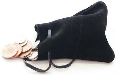 Medieval/LARP/SCA/Pagan/Re enactment BLACK Leather DRAWSTRING MONEY POUCH/BAG