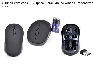 Black 3-Button Wireless nano USB 2.0 Transceiver Optical Scroll Wheel Mouse NEW