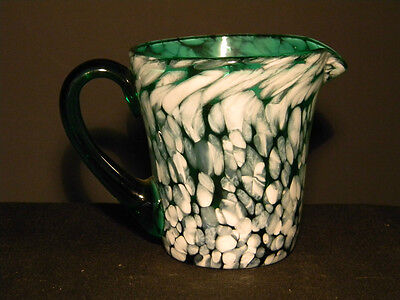Spatter Glass Green n white Creamer over 3 inches high  (1095)