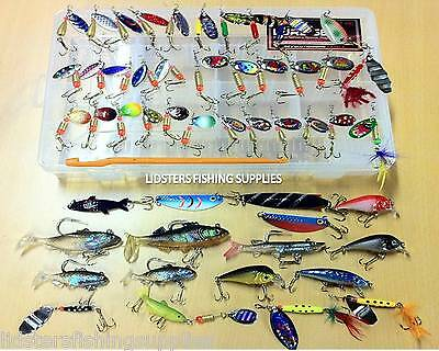 51 Fishing Lure Set Spinners Plugs Spoons Soft Bait Ideal Pike Trout Salmon NGT