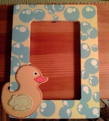 New Bubbles and Baby Yellow Duck Lover Wooden  Hand Painted Picture Frame 4 x 6