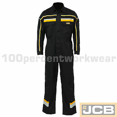 JCB Work Wear Hollington Coverall Boiler Suit Overall Black Mens Mechanics Farm