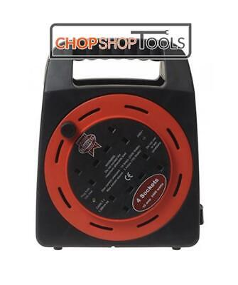 FAITHFULL 20m Cable Reel 4 Power Outlets Enclosed Case 13 Amp British Standard