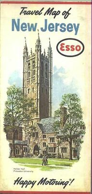 1962 Esso New Jersey Vintage Road Map / Princeton Univ. on cover