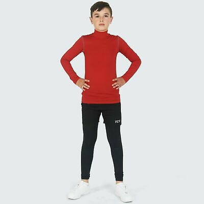 Boys Kids PowerLayer Compression Baselayer Thermal Shirt Top Long Sleeve Skins