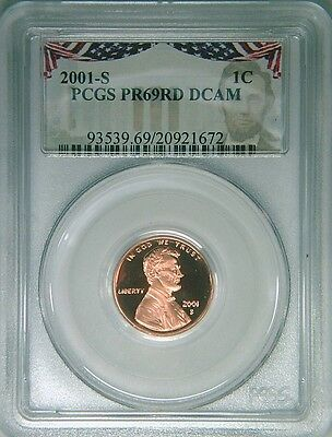 2001-S PCGS PR69DCAM proof Lincoln cent deep cameo red Bunting label