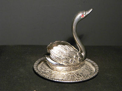 Vintage Silverplated Swan Jewelry Tray  (1359)