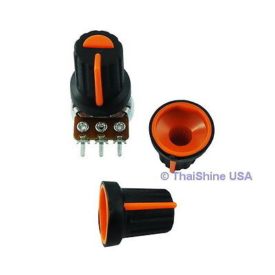 5 x Black Knob with Orange Pointer - Soft Touch - USA Seller - Get It Fast