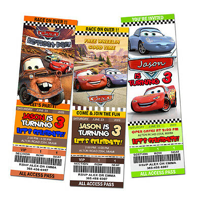 CARS DISNEY MCQUEEN 1 2 BIRTHDAY PARTY INVITATION TICKET Baby Shower 1ST