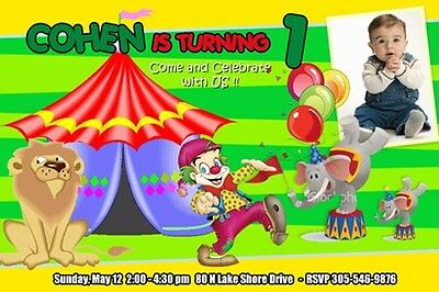 CIRCUS CARNIVAL CLOWN BIRTHDAY PARTY INVITATION 1ST - C3 - 6 DESIGNS ELEPHANT