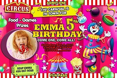 CIRCUS CARNIVAL CLOWN BIRTHDAY PARTY INVITATION PHOTO 1ST - C9 - POPCORN TENT