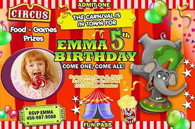 CIRCUS CARNIVAL CLOWN BIRTHDAY PARTY INVITATION PHOTO 1ST - C27 - elephant cards